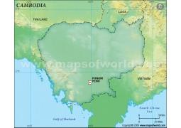 Cambodia Blank Map, Dark Green