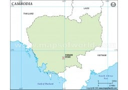 Cambodia Outline Map in Green Color