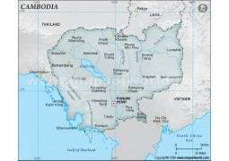 Cambodia Physical Map in Gray Color