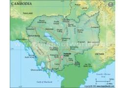Cambodia Political Map, Dark Green