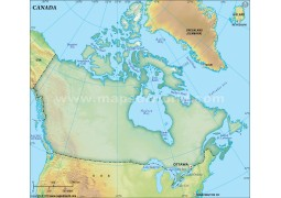Canada Blank Map, Dark Green