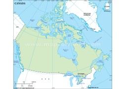 Canada Outline Map, Green
