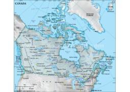 Canada Physical Map, Dark Green