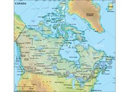 Canada Political Map in Dark Green Color