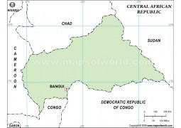 Central African Republic Outline Map, Green