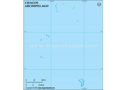 Chagos Outline Map, Light Blue