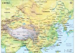 China Physical Map, Green