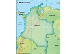 Colombia Blank Map, Dark Green