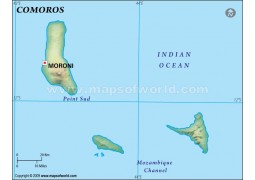 Comoros Blank Map, Dark Green