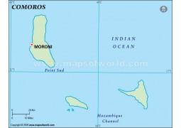 Comoros Outline Map, Green