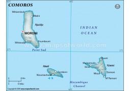 Comoros Physical Map, Dark Green