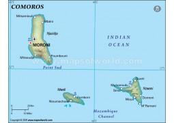 Comoros Political Map, Dark Green