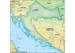 Croatia Blank Map, Dark Green