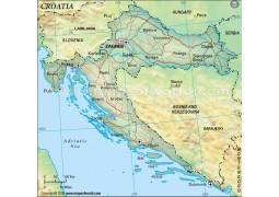 Croatia Political Map, Dark Green