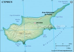 Cyprus Blank Map, Dark Green