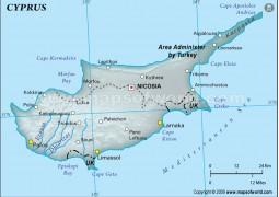 Cyprus Physical Map, Gray