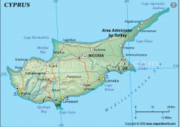 Cyprus Political Map, Dark Green
