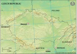 Czech Republic Blank Map, Green