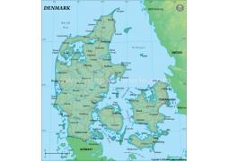 Denmark Political Map, Dark Green