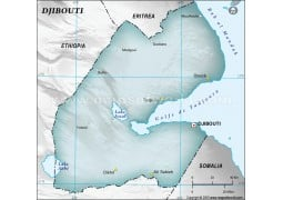 Djibouti Physical Map with Cities in Gray Background