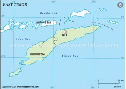East Timor Outline Map