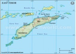 East Timor Political Map, Dark Green
