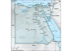 Egypt Physical Map with Cities in Gray Color