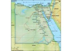 Egypt Political Map, Dark Green