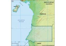 Equatorial Guinea Blank Map, Dark Green