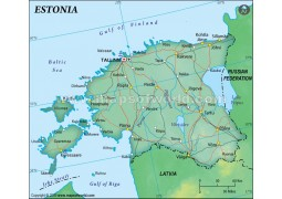 Estonia Political Map, Dark Green