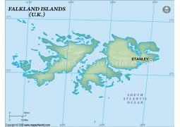 Falklands Blank Map, Dark Green