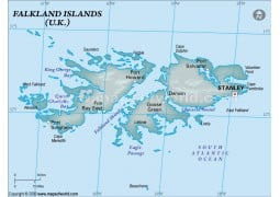 Falklands Physical Map, Dark Green