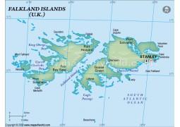 Falklands Political Map, Dark Green
