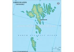Faroe Islands Blank Map, Dark Green