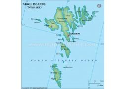 Faroe Islands Political Map, Dark Green
