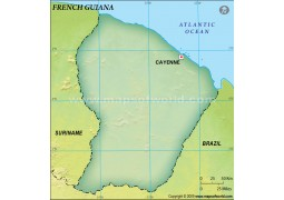 French Guiana Blank Map, Dark Green