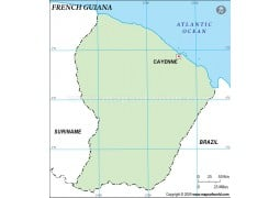French Guiana Outline Map, Green