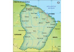 French Guiana Political Map, Dark Green