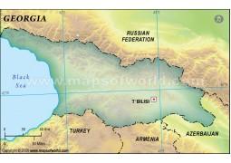 Georgia Blank Map, Dark Green
