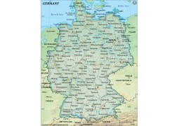 Germany Political Wall Map, Dark Green