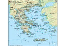 Greece Political Map in Dark Green Color