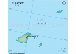 Guernsey Blank Map in Dark Green Color
