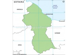 Guyana Outline Map, Green