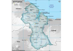 Guyana Physical Map with Cities in Gray Color