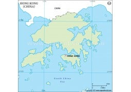 Hong Kong Outline Map in Green Color