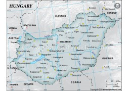 Hungary Physical Map with Cities in Gray Color