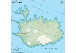 Iceland Blank Map, Dark Green