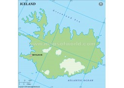 Iceland Outline Map, Green