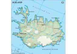 Iceland Political Map, Dark Green