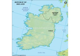 Ireland Blank Map in Dark Green Background